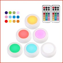Binval RGB 13 Colors LED Under Cabinet Light Wireless Dimmable Touch Sensor Night lamp For Kitchen Closet Wardrobe (6 Pack)