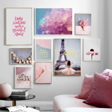 Paris Tower Pink Rose Flower Girl Daisy Wall Art Canvas Painting Nordic Posters And Prints Pictures For Living Room Decor