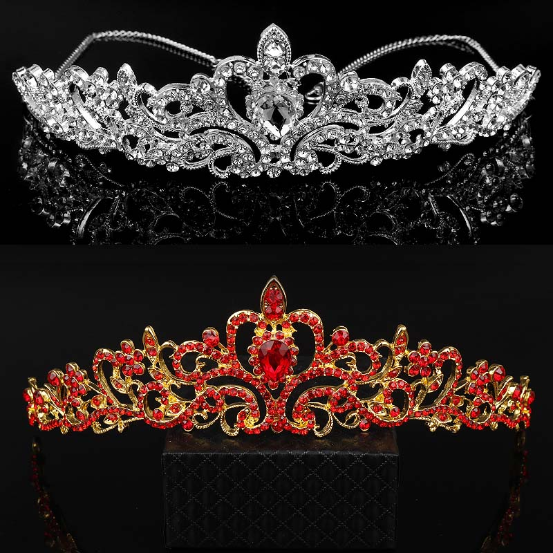 MQCHUN High Grade Wedding Crown Jewelry Gold Tiaras Fashion Heart Red Crystal Bride Head Hair Accessories Queen Hairwear