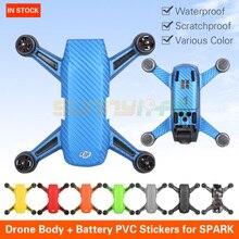 Gráfico PVC Pegatinas Impermeable resistente A Los Arañazos Carbon Fiber Skin Decal para CHISPA Cámara Drone DJI Cuerpo y pilas de repuesto(China)