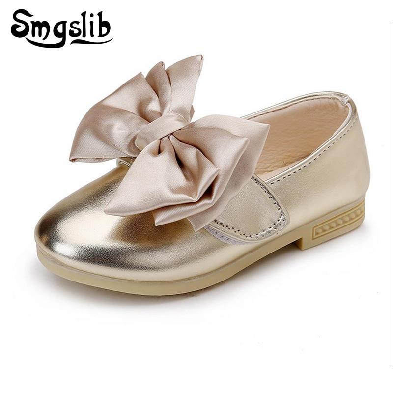 Дівчата шкіряні туфлі принцеса дитяче взуття Bowknot м'які дівчата танцюють вечірні сукні з плоскими черевиками Повсякденні кросівки розміром 21-30