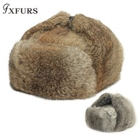 Men Winter Real Rabbit Fur Warm Hat/Russian Bombers Guard Cheek Hat Cap Lei Feng Hat Snow Caps Male Winter Ear Flaps Trapper Out