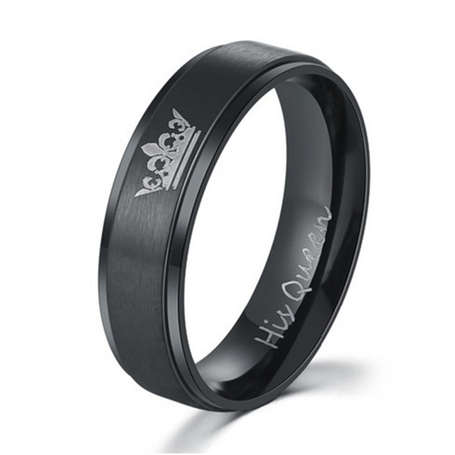 NEWBUY Fashion Couple Wedding Jewelry Black/Silver Color His Queen And Her King Stainless Steel Ring For Lovers