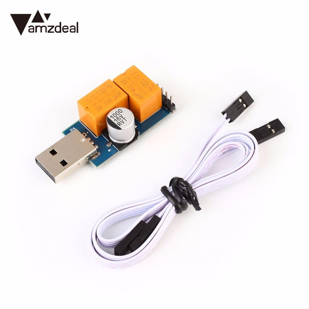 AMZDEAL V2.0 USB WatchDog Computer Halted Blue Screen Automatic Reboot BTC Mining Monitor Timer Double Relay for ETH ETC LTC