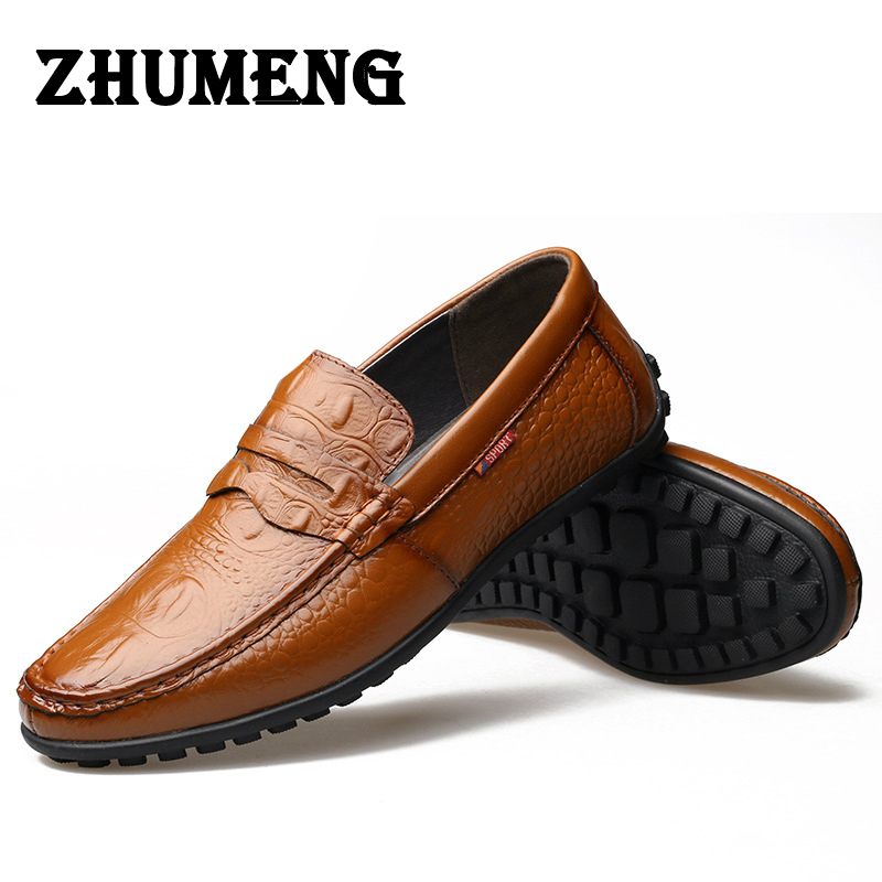 2017 Alligator Grain Casual Men Shoes Genuine Leather Luxury Brand Slip-on Mens Loafers Flats for Driving Party Lazy Shoes Dress mycolen men loafers leather genuine luxury designer slip on mens shoes black italian brand dress loafers moccasins mens