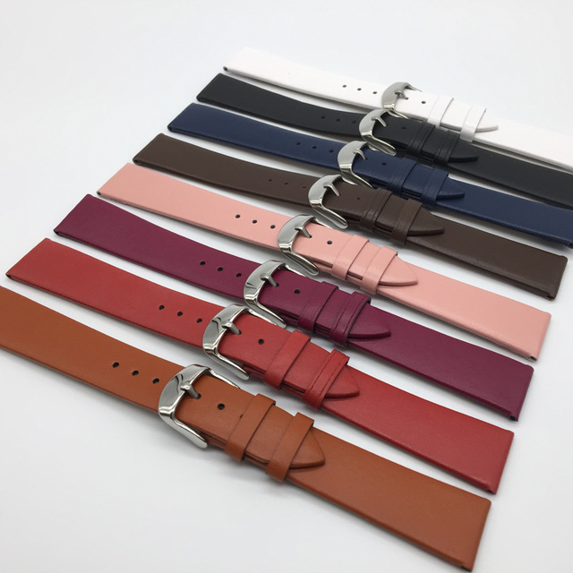 8 fashion color 12MM 14MM 16MM 18MM 20MM 22MM smooth grain genuine leather cow split watch band watch strap men and women straps