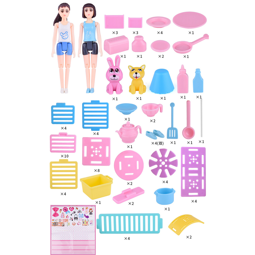 Role Play Toys Set Princess DIY Assembled Doll House Toys with Furniture Set Accessories Girls Birthday Gift Set Dropshiping new