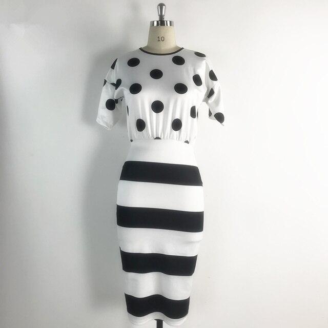 Black White Big Polka Dot Striped Dress 4