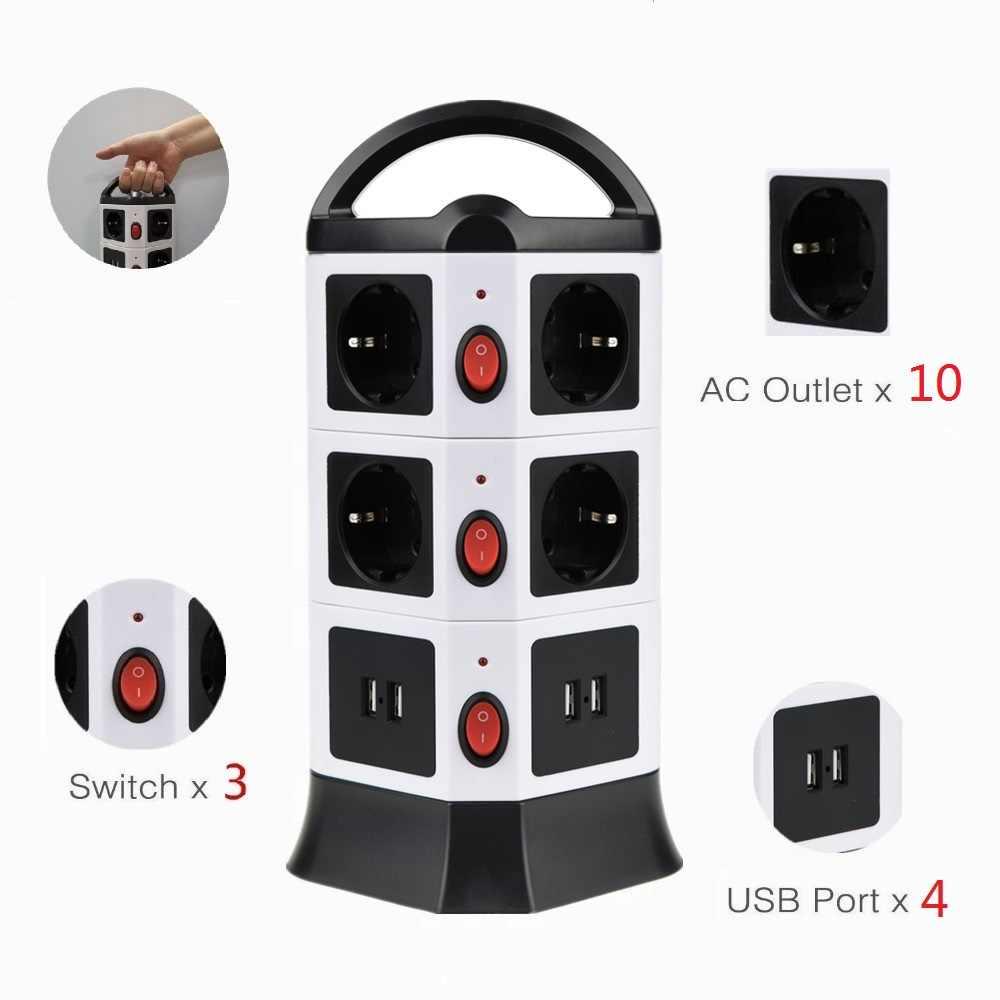 Listwa zasilająca ue wieża wyjście USB gniazdo przedłużające listwa zasilająca USB z indywidualnym przełącznikiem przenośna listwa zasilająca wieża wtyczka EU/RU