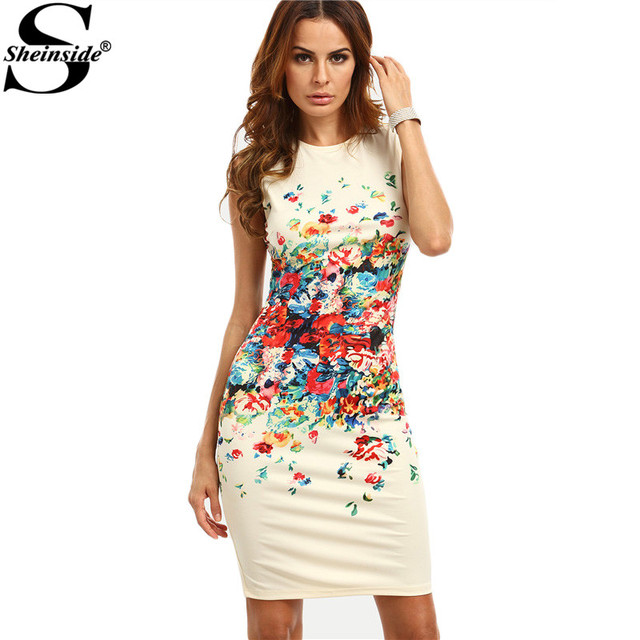 ca65d635fa13 Sheinside Multicolor Print Sleeveless Sheath Mini Dress Women Office Work  Wear Round Neck Bodycon Short Dress