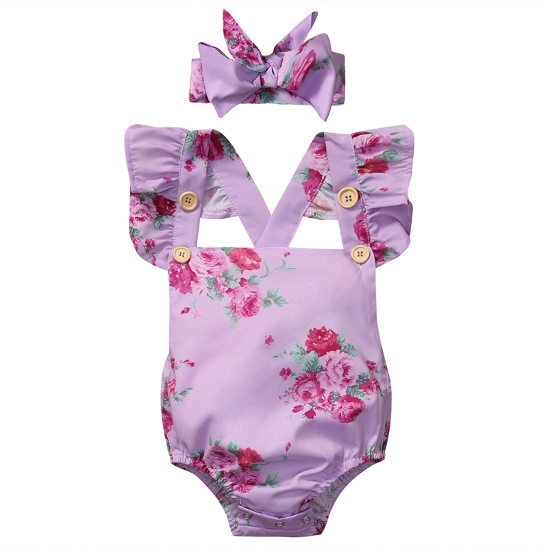 New Fashion Newborn Baby Girl Off Shoulder Floral Romper Jumpsuit Headband Outfits Sunsuit Clothes 2PCS