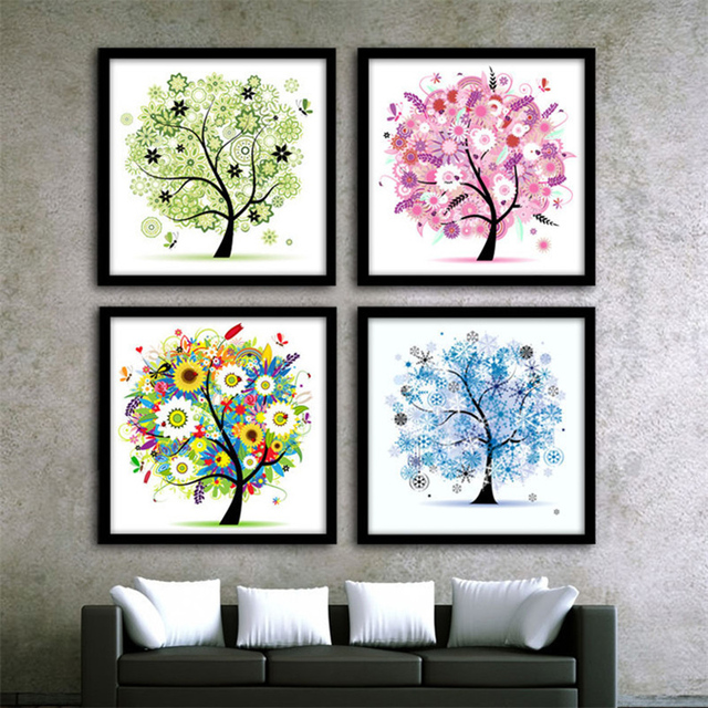 New DIY Crystal Rhinestone Four Seasons Tree Diamond Painting Cross-Stitch Kits 2 Sizes