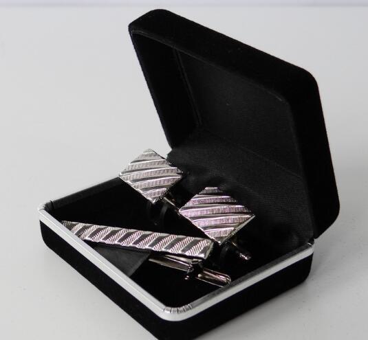 Flocking Cufflinks Tie Clip Boxes Jewelry Storage Organizer Case