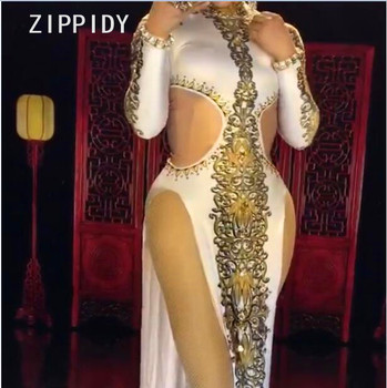 Chinese Cheongsam Rhinestones Printed Sexy White Dress Nightclub Female Singer DS Prom Celebrate Women's Dance One-piece Clothes