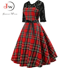 Autumn Lace Retro Vintage Slim Plaid Print Casual Elegant Christmas Party Dresses