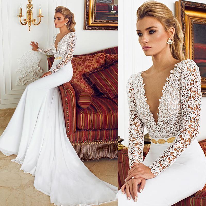 2016 Sexy Deep V-Neck Berta Lace Wedding Dresses Mermaid With Long Sleeve Vestido de Novia Vintage Wedding Dress Bridal Gowns 2