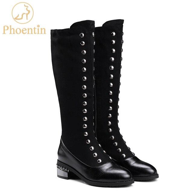 47eb5074a Phoentin punk rivet botas meados de bezerro para as mulheres med calcanhar  quadrado dedo apontado patchwork curto bota plus size grandes das FT280