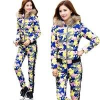 Nova feminina Inverno Jaqueta Terno Outono Quente Plus Size Camuflagem Fino Parka Casaco + Calças 2 Peça Set Mulher a522