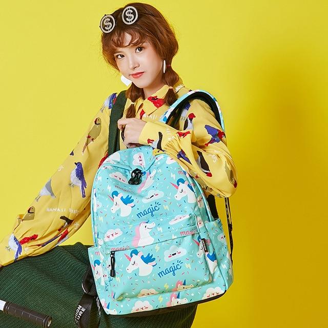 Women Unicorn Cute School Printing Backpack