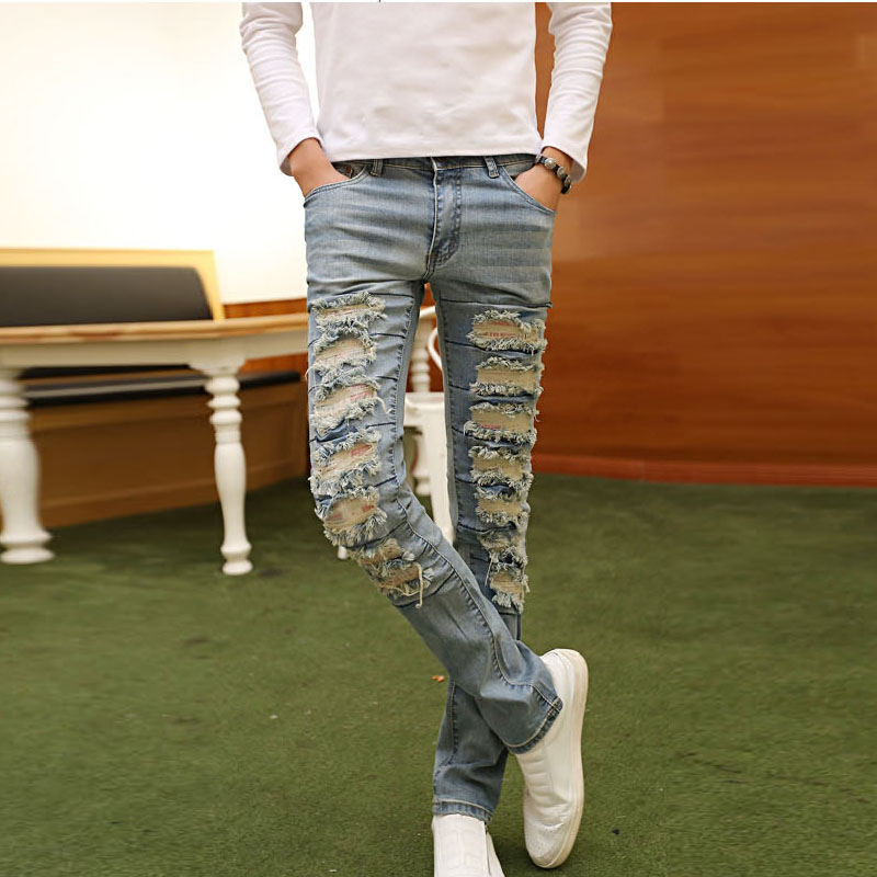 2017 Hip Hop Swag Men Jeans Pants Fashion Casual Hole Ripped Denim Mens Light Blue 10pcs fastening tool for cable tie wires stainless width 2 4 9mm