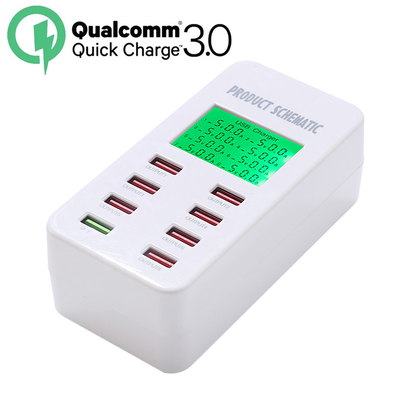 Quick Charge 3 0 Smart USB Charger 8 Port USB LCD Display Charging For iPhone iPad
