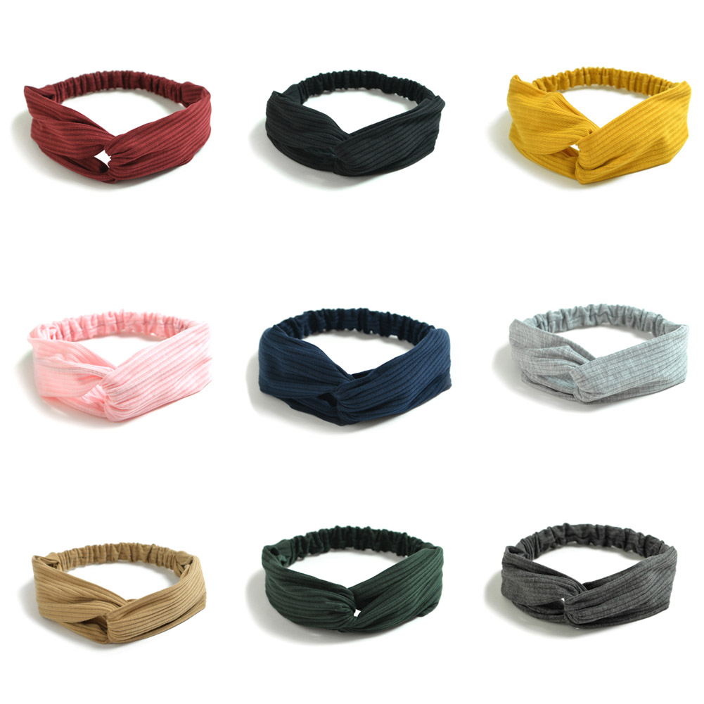 Women Knit Cross Twist Headband Turban Elastic Headband Bandage 9 Colors Fashion Retro Women Elastic Girls Hairband