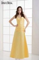 2017 пятно желтый Вечерние платья с декольте пол Длина складки бисером рукавов Выходные туфли на выпускной бал платья