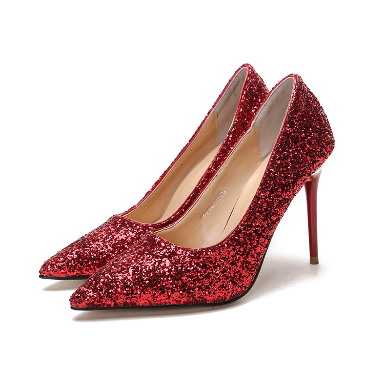 Women Shoes High-heeled Shallow Mouth Pointed Sparkle Sequins Nightclub High Heels Single Shoes High Heels Wedding Shoes