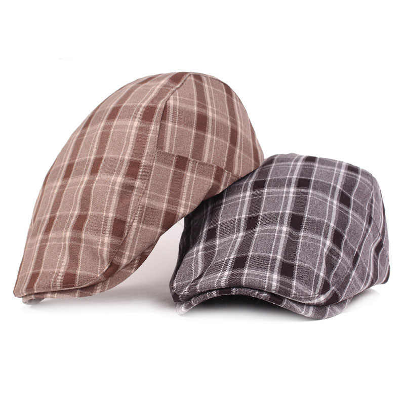 RoxCober チェック柄綿ギャツビー帽子アイビーカジュアルゴルフ太陽のためのメンズレディースベレー帽キャスケットキャップ boina masculina 132
