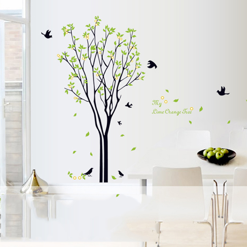 Living room birds green wall sticker tree self adhesive home decor bedroom family tree wall decal removable furniture stikers