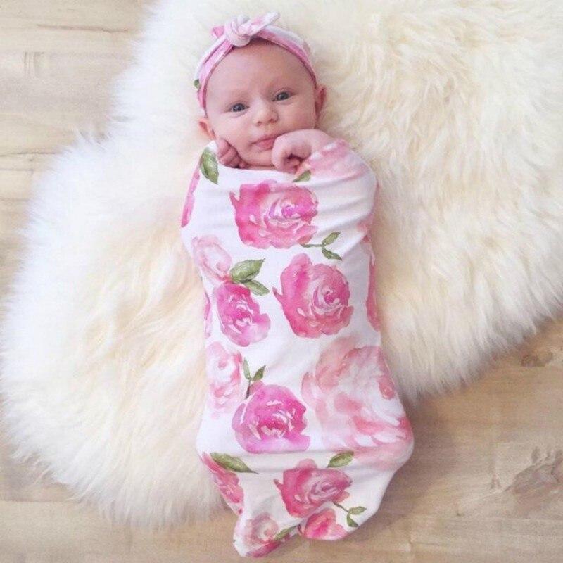 2 Stücke Neugeborenen Baby Schlafsack Druck Sleep + Haar Band Baby Baumwolle Wrap Anti-treten Schlafsack 2018 Auf Der Ganzen Welt Verteilt Werden