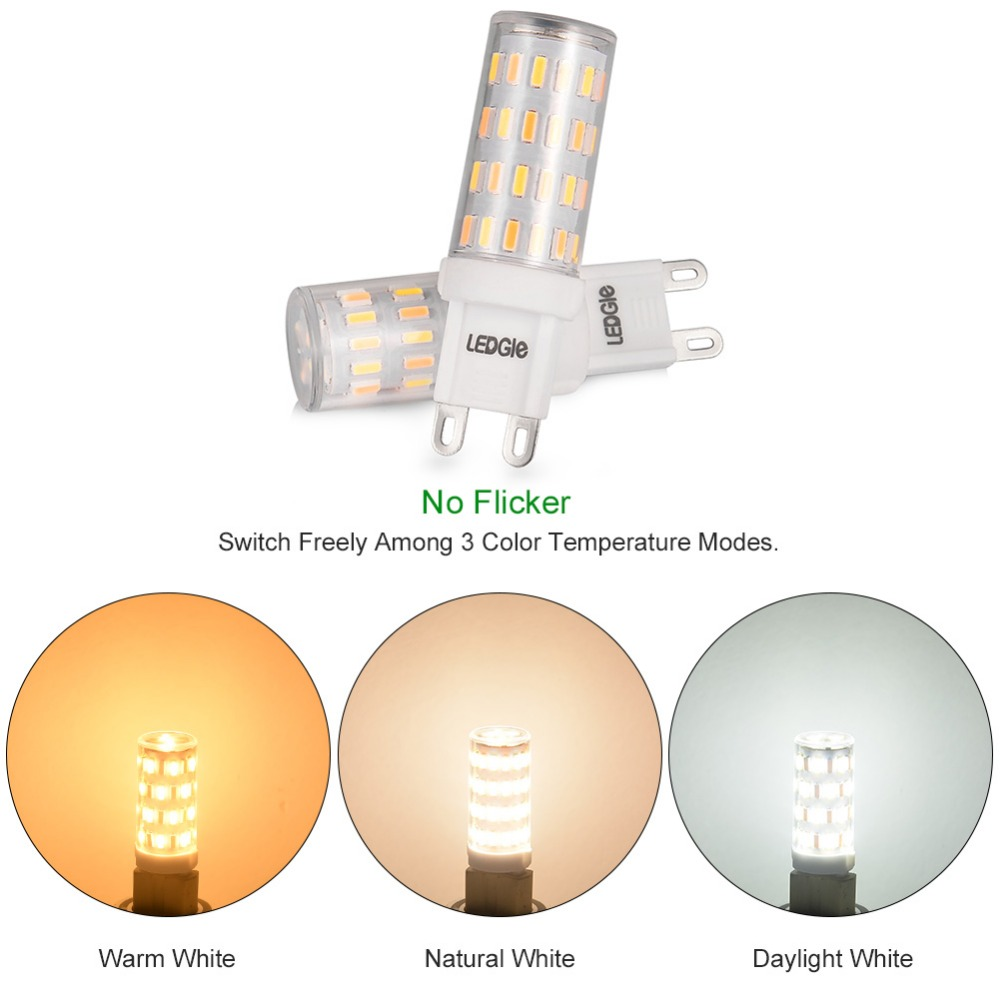 LEDGLE 5 Pcs 6W LED Light Bulbs G9 LED Lamp Bulb 3 Color Temperature Modes Non-dimmable No Flicker Wide Beam Angle