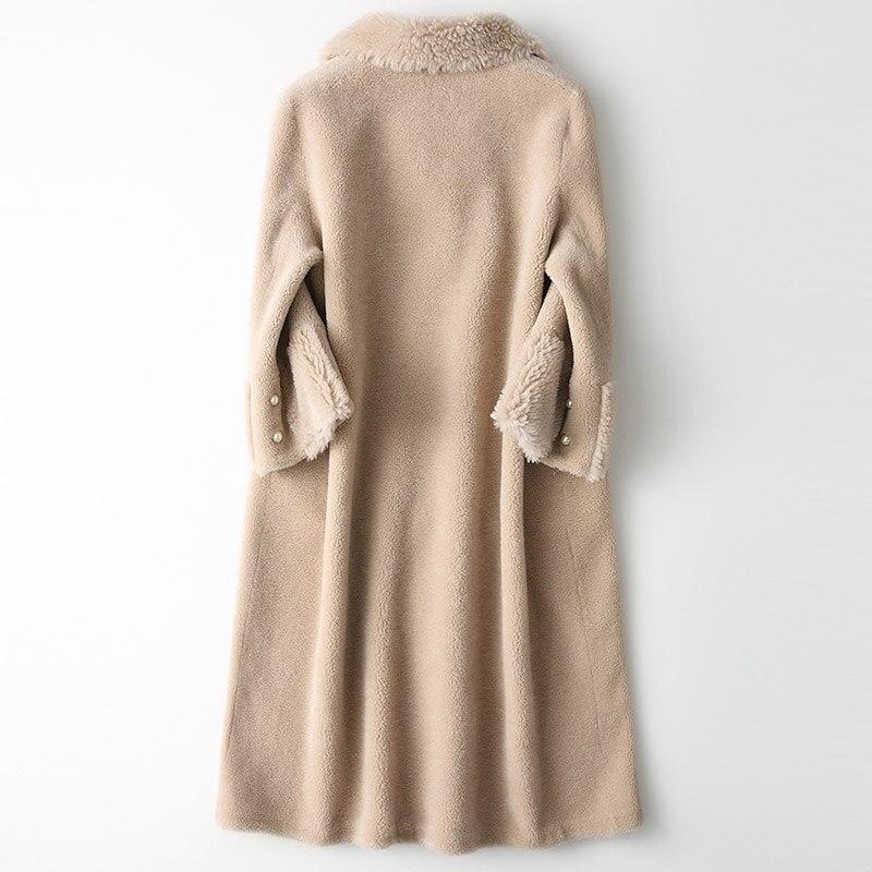 Fourrure Mujer Femme Réel Coréenne De Femmes Manteau Laine Abrigo D'hiver Beige Moutons Vintage En Veste Vestes Peau 100 Mouton Long Camel My1969 EEqwpxCU7O