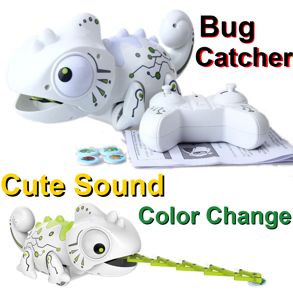 Impulls RC Animal Toys White Chameleon Color Changeable Smart Remote Control 2 4 GHZ Novelty Toy Children Kids Gift Party FSWOB in RC Robots Animals from Toys Hobbies