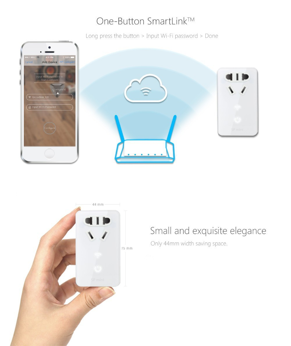 5--Broadlink SP Mini Wifi Smart Socket Remote Control by Phone Wireless Power Plug timer+extender time Home Automation System
