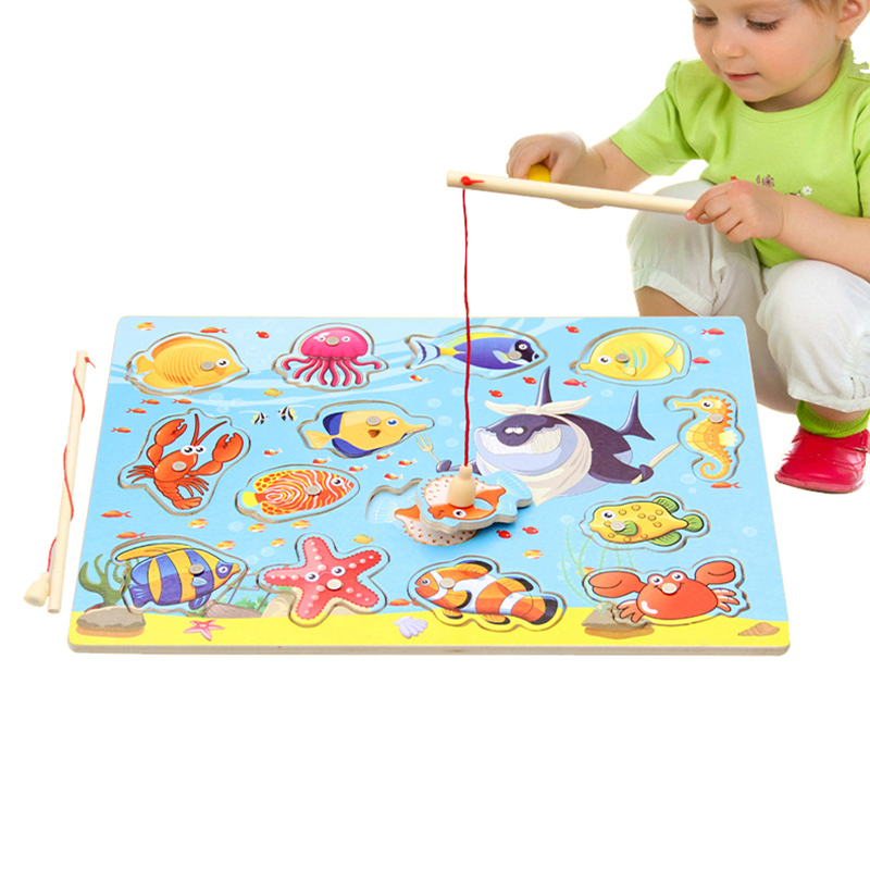 Wooden Fishing Toy Child Gift Baby Interesting Educational Wood Fish Game DIY