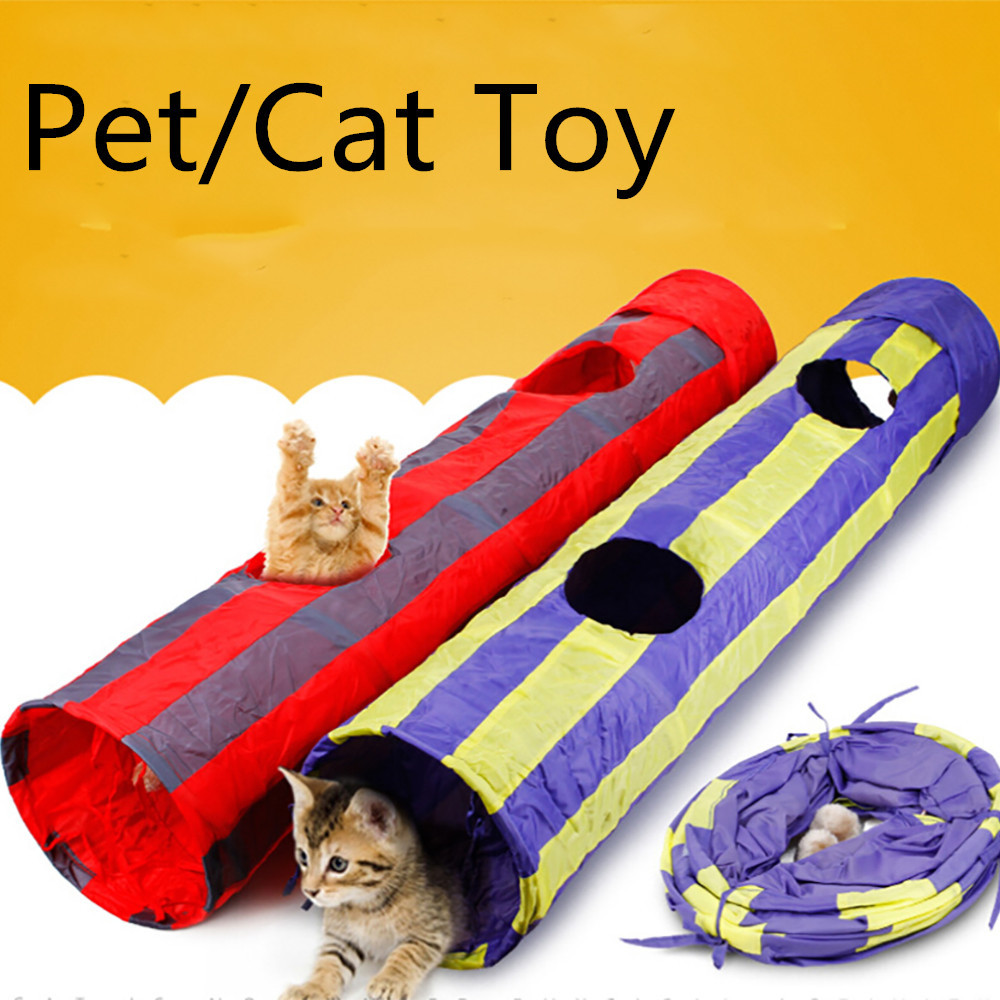 115cm Long 2 Holes Cat Pet Tunnel Cat Toys Crinkle Foldable Kitten Tunnel Toy With Scratching Ball Play Fun Toy Kattenspeelgoed