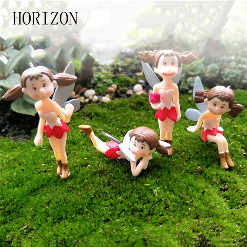 4pcsset fairy garden figurines miniature hayao miyazaki xiaomei resin crafts ornament gnomes moss terrariums home decorations - Garden Figurines