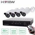 H. view 4ch sistema de cftv 8 canais dvr hdmi 4 pcs 900tvl ir à prova de intempéries câmera de segurança sistema de segurança em casa kits de vigilância