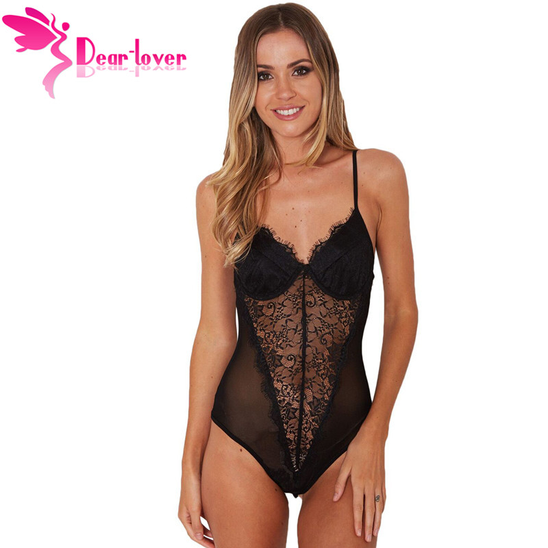 Dear Lover Sexy Black Lace Mesh Bodysuits Sleeveless Push Up Rompers Womens   Jumpsuit   Body Feminino Short Overall LC32231