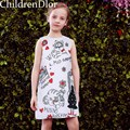 Traje de los muchachos para Niños Vestidos De Fiesta con Carácter Impreso 2017 Estilo de Lolita Princess Dress Cumpleaños Niñas Ropa 2-10Years