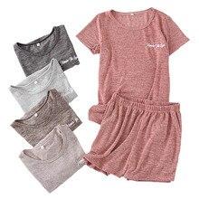 ชุดนอนสุภาพสตรีชุดฤดูร้อนแขนสั้น + กางเกงขาสั้นชุดนอนนุ่มสบายรอบคอสวมใส่สบายๆผู้หญิงหลวม homewear