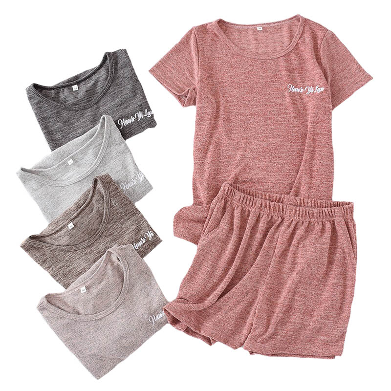 Ladies   Pajamas     Set   Summer Short Sleeve Top+Shorts Solid Color Sleepwear Comfort Soft Round Neck Casual Wear Women Loose Homewear