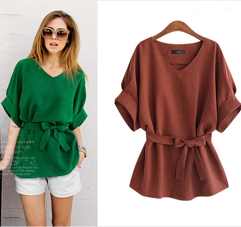 Belva 2018 V-neck Maternity Clothes Plus Size Loose Shirt Tops Belt Blouse Short Sleeves Shirts for Pregnant work Women 5XL 675