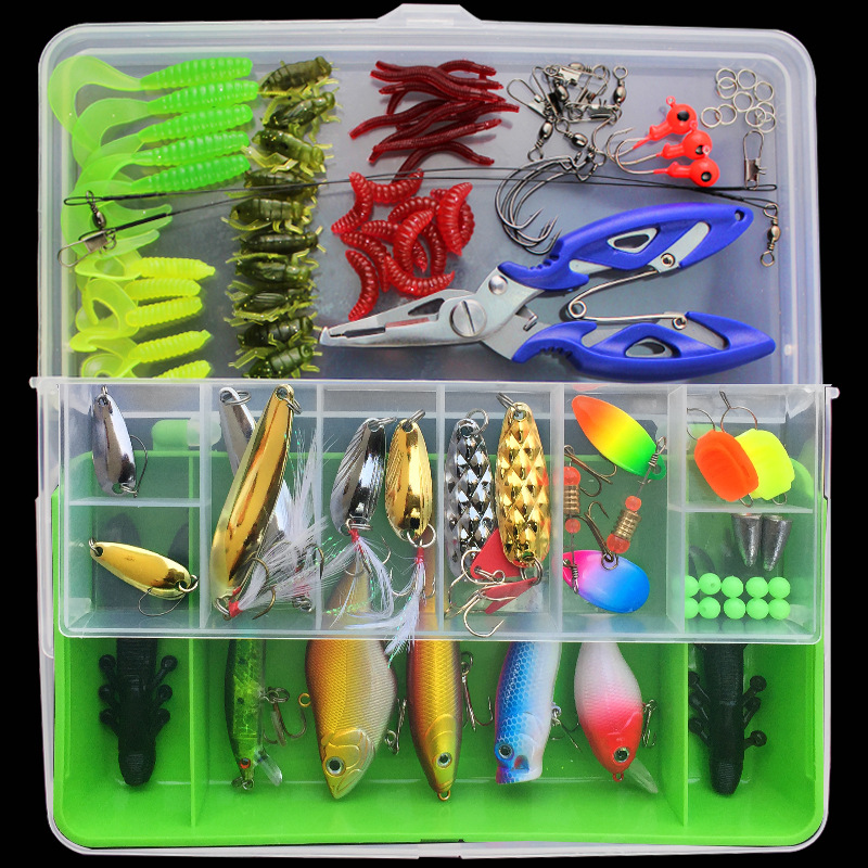 101pcs/set Fishing Lures Kit With Box Hard Soft Bait Minnow Spoon Crank Shrimp Jig Lure Fishing Tackle Accessories New wldslure 4pcs lot 9 5g spoon minnow saltwater anti hitch crankbait hard plastic plainting fishing lures bait jig wobbler lure