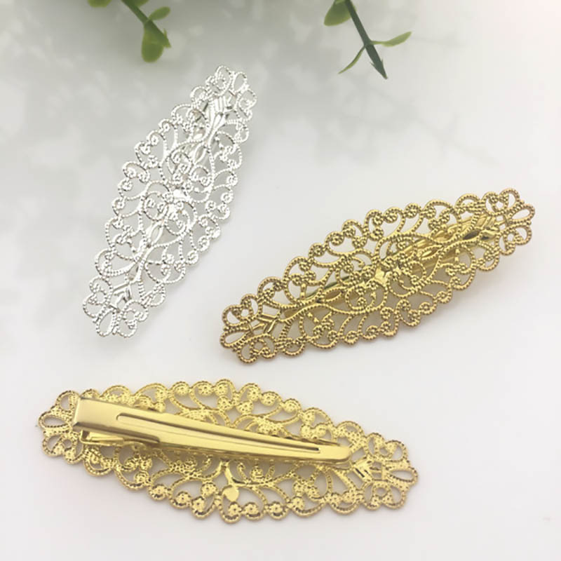 pack of 4 Brass Brooch Cabochon Setting Alligator clip hair clip