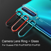 For Huawei P30 Pro Metal Rear Lens Protection Ring+Tempered Glass Camera Screen Protector for P20 Case