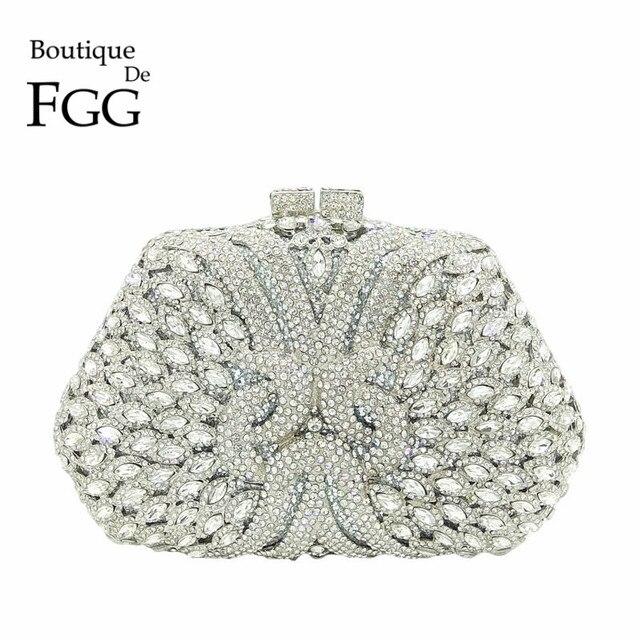 09dcf00cb Boutique De FGG Dazzling Prata Diamante Clutch Bolsa Das Mulheres Sacos de  Noite Bolsa Festa de