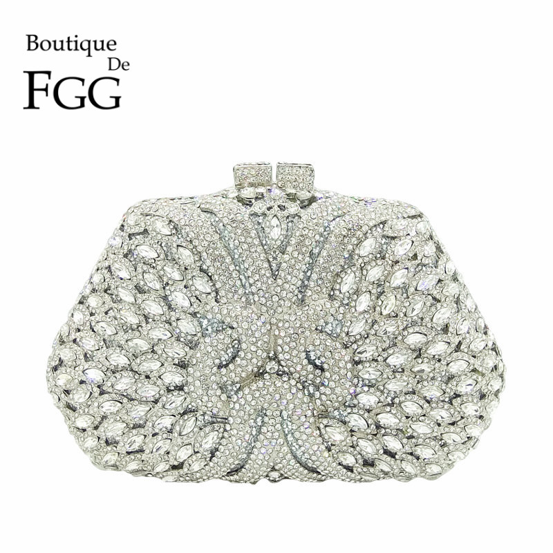 Boutique De FGG Dazzling Silver Diamond Clutch Purse Women Crystal Bags Evening Wedding Party Handbag Bridal Metal Minaudiere