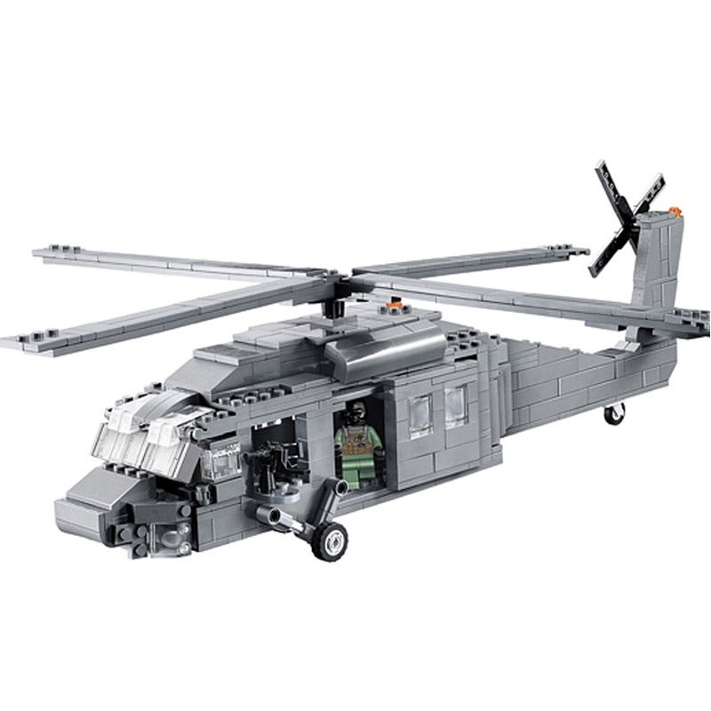 Decool 2114 UH-60 Black Hawk Commandos Helicopter Sheng Yuan  Building Block Toys Children Gifts decool 2114 building blocks military uh 60 black hawk plane airplane helicopter bricks blocks children toys compatible with lego